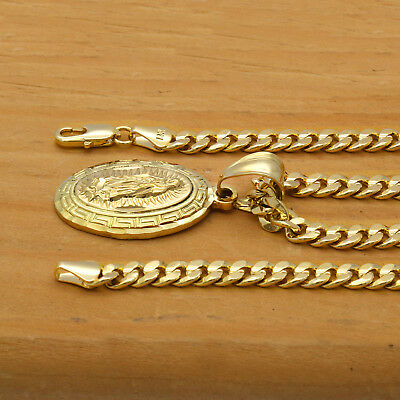 """Mens 18k Gold Plated Mini Oval Guadalupe Pendant 5mm 24"""" Cuban Necklace Chain"""