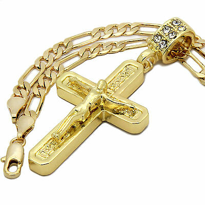 "Mens 14k Gold Plated jesus C Cross Pendant With 24"" inches Figaro Chain Necklace"