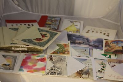 New Unused Greeting Christmas Cards w/ Stickers & Envelopes Butterflies Glitter