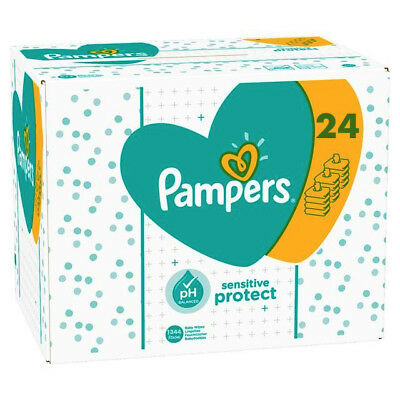 Pampers Sensitive Protect Baby Wipe Sheets 24 X 56 PH Balanced - 1344 Wipes P&P