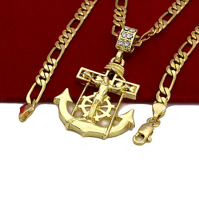 "Mens 14k Gold Plated High Fashion Jesus Anchor Pendant 5mm 24"" Inch Figaro chain"