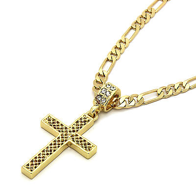 "Mens 14k Gold Plated Grid Cross Pendant With 24"" inches Figaro Chain Necklaces"