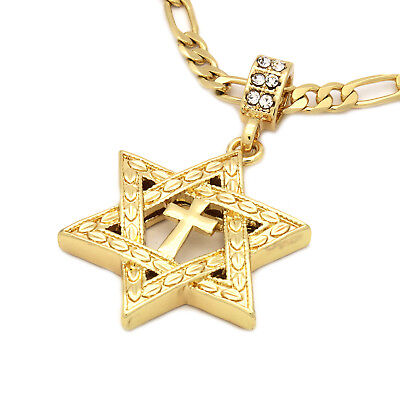 "Mens 14k Gold Plated Star of David Cross Pendant 24"" inches Figaro Chain"