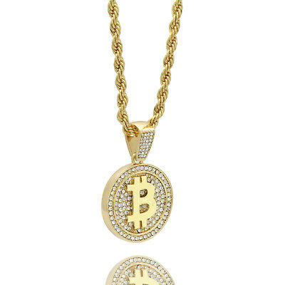 """Men's 14k Gold Plated High Fashion Bitcoin Pendant 5mm 24"""" Inch Rope chain"""