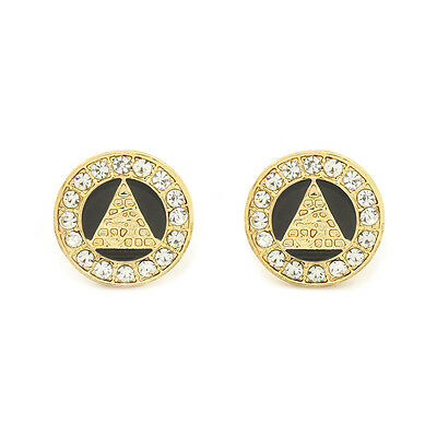 Eye of Horus Egypt Pyramid Earrings 10mm Gold Tone with Black Medallion Shaped