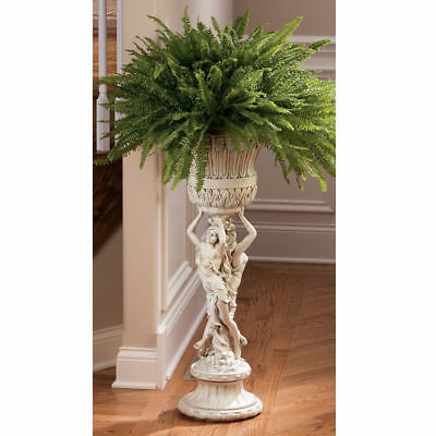 """36"""" French Style Neoclassical Les Filles Joyeuse Sculptural Pedestal Plant Stand"""