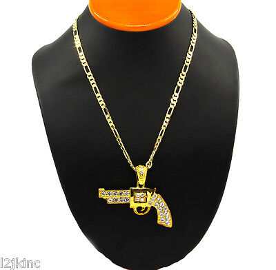 """Gold Plated Iced Out Cz Gun Pendant Hip-Hop 24"""" Figaro Necklace Chain"""