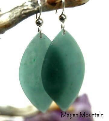 Ultra Thin & Translucent Fine Blue Guatemalan Jadeite Jade Silver Earrings 006