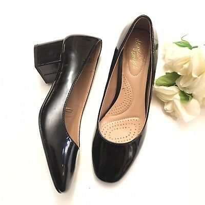 f2461f40edb9 DEXFLEX COMFORT BLACK Patent and Suede Oxford Pump Heel Shoes Woman ...