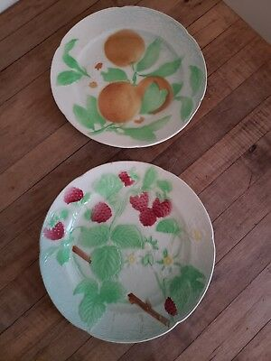 "VINTAGE lot of 2 ST CLEMENT'S Majolica Fruit 8 1/4"" Plates MADE in FRANCE 1930's"