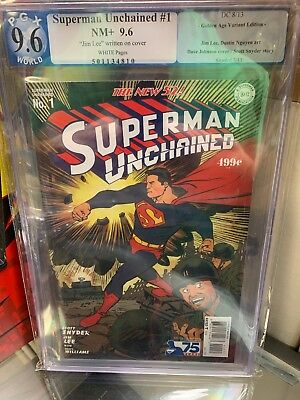 Superman Unchained PGX Not CGC 9.6 Signed By Jim Lee