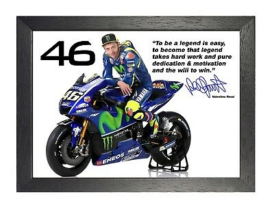 Valentino Rossi Signed Italian Motorcycle Racer Poster MotoGP Sport Quote Photo