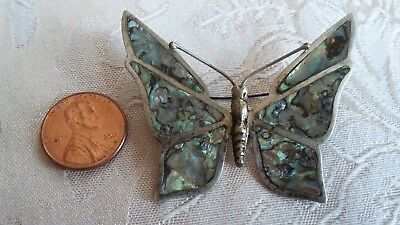 Vintage Mexico 925 Sterling Silver Abalone Shell Large Butterfly Pin Brooch