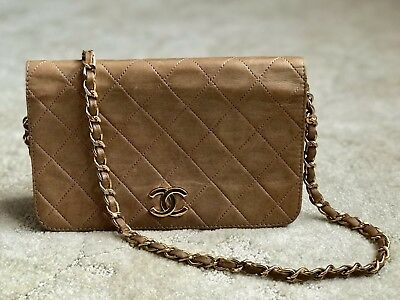 5a8ac424f121 Authentic CHANEL Beige Quilted Lambskin CC Mini Full Flap Chain Shoulder Bag