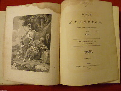 ODES OF ANACREON THOMAS MOORE EDITION 1800 with T NUGENT COPPER ENGRAVINGS