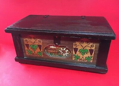 Charming Vintage Carved Timber Wooden Box Slovenia Souvenir Tongue In Groove