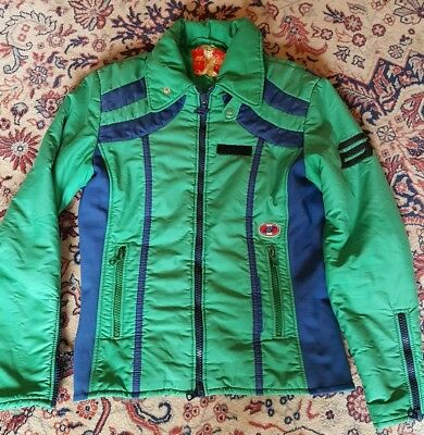 VTG Anba of Austria Womens Ski Jacket Small Med Green Blue Fitted Snow  Winter ce6ea712c