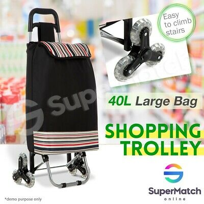 40L Nylon Shopping Bag Cart Trolley Carts Vibrant Coloured Luggage Wheels Black