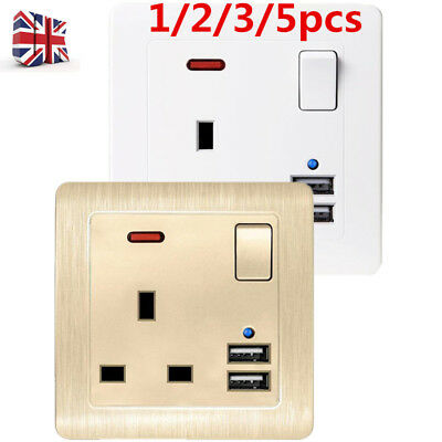 Single Wall Plug Socket 2 Gang 13A with 2 USB Ports Screwless Slim Flat Plate SV