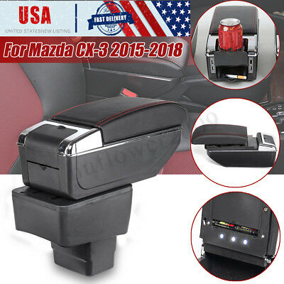 Rotatable Centre Console Arm Storage Box Armrest Rest For Mazda CX-3 2015-2018