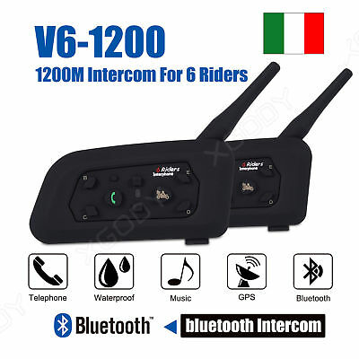 Bluetooth Moto Casco Interfono Cuffie Auricolari 1200M 6 Ciclista Intercom 2x