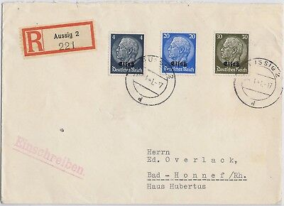Germany 3rd Reich Alsace/Sudetenland 1941 cover with Mi 2, 9, 11 o/p Hindenburg
