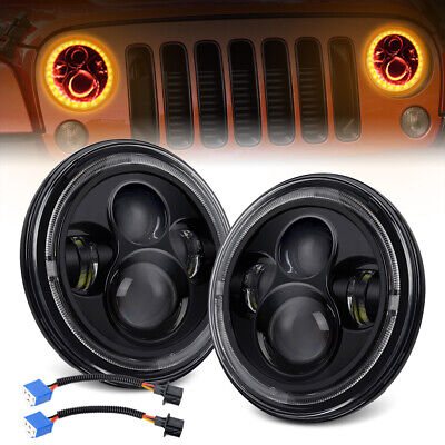 Pair 7 inch LED Headlights Round 100W CREE For Jeep Wrangler TJ JK 97-17