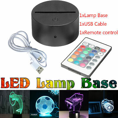 ABS Acrylic Black 3D Colorful Panel LED Lamp Night Base + USB Cable+Remote