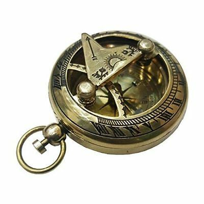 Solid Brass Vintage Camping Hiking Pocket Compass Push Button Pocket Sundial