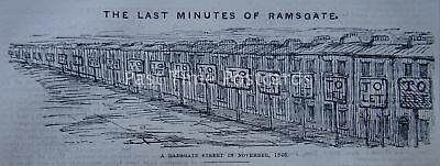 KENT - TO LET - RAMSGATE STREETS IN NOVEMBER 1846 Original Victorian Print