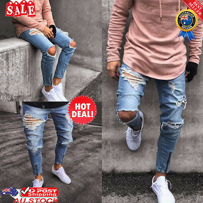 Men's Ripped Skinny Jeans Destroyed Zip Up Fit Denim Pants Trousers AU HOT