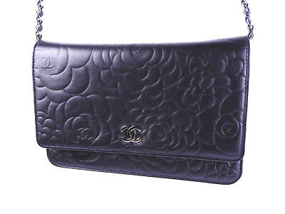 fcc59396f7a9 CHANEL CC Camellia Embossed Chain Wallet Shoulder Bag Lambskin Black A47421  8805