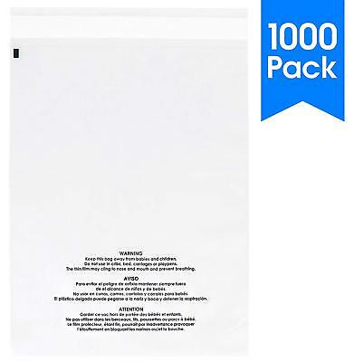 1000 Count - Self Seal 1.5 Mil Clear Plastic Poly Bags with Suffocation Warning