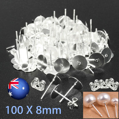 200 PCS Earring Stud Posts 8mm Pads + Nut Backs Silvery Surgical Steel DIY Craft
