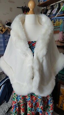 FAUX FUR BRIDAL SHAWL - SHRUG Ivory White Freesize