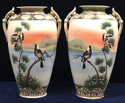 Antique Ceramic Japanese Hand Painted Birds in Landscape Nippon Export Vases