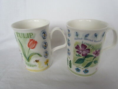 2 X Stunning Roy Kirkham Summer Flowers Fine Bone China Mugs