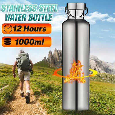 1000ML Stainless Steel Double Wall Flask Vacuum Insulated Water Bottle Drink Cup