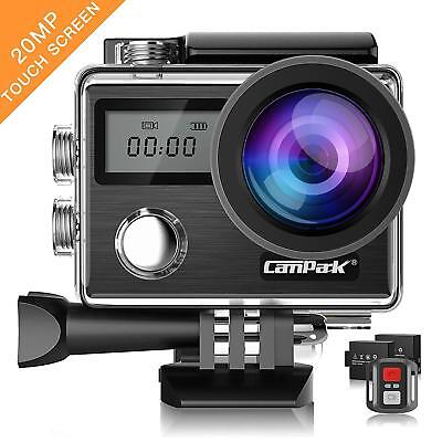 Campark X20 4K 20MP Action Camera with EIS Touch Screen 170 deg angle lens