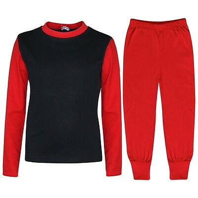 Kids Boys Girls Pjs Contrast Red Color Plain Stylish Pyjamas Set Age 2-13 Years