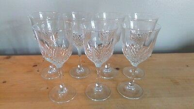Set of 7 Vintage Crystal Wine Glasses, Great Condition
