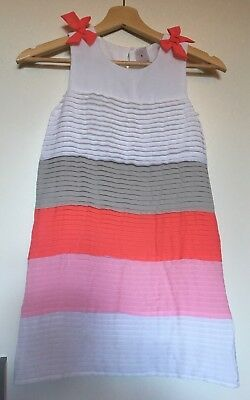 TARGET Girls White Grey Pink Pleated Dress Size 7 Worn Once