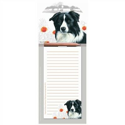 BORDER COLLIE Magnetic Memo Pad | Fridge Magnet Shopping List | With Pencil