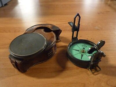 Original Antique London C 1860, Prismatic Compass & Leather Case, Surveyors Tool