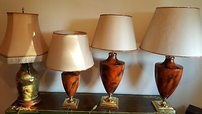 Four Classic-Style Porcelain Lamps with Metal and Wooden base