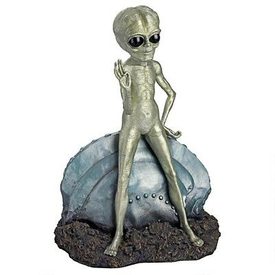 Extra Terrestrial Roswell Alien Worldly Statue Leaning on Ccashed UFO Sculpture