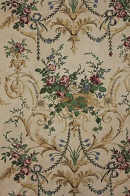 Curtain Antique French Rococo Design Printed Linen Fabric c 1880 Bed Hanging