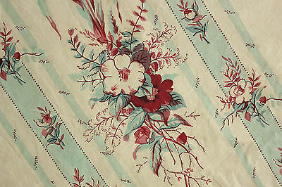 Curtain Antique French block printed panel STUNNING floral and stripe TEAL