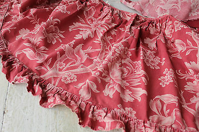 Curtain Antique French printed 1880's lovely red + pink floral fabric w/ ruffle