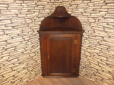 Antique Oak English Country House Corner Cupboard & Shelves, Wall Or Floor Mount